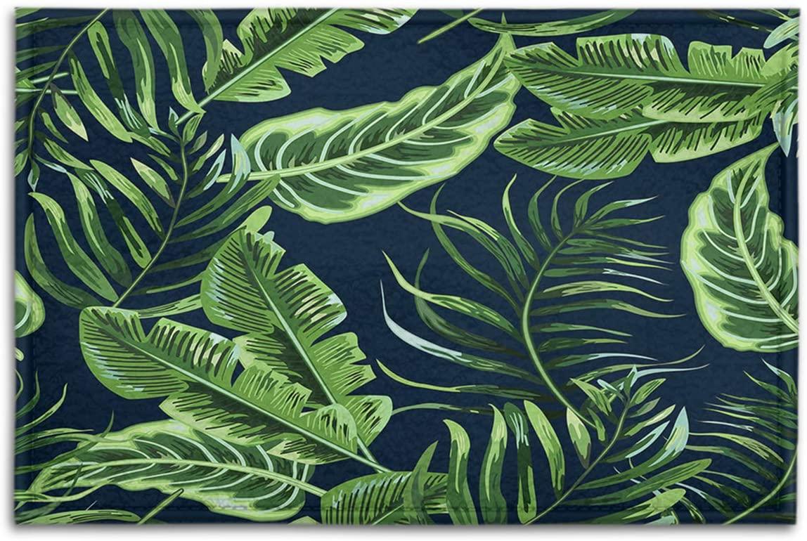 BJOLEdS Indoor Outdoor Doormats Green Tropical Leaves Seamless Pattern on Black Background Decorative Non Slip Entrance Floor Mats Bathroom Kitchen Areas Shoe Rugs, 15.7