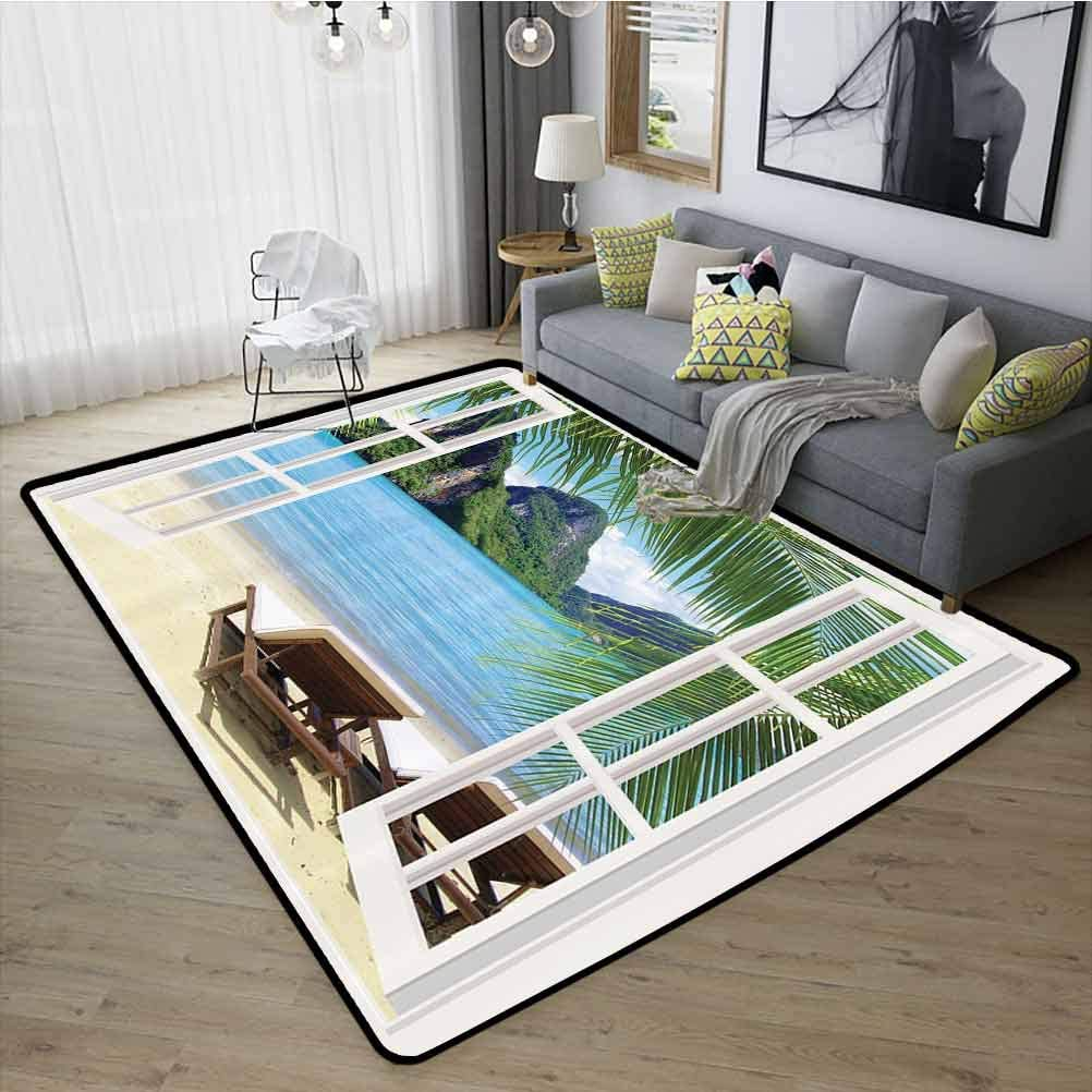 Palm Tree Home Decor Carpet, Fashions Natural Style Anti-Skid Large Area Rugs for Girls Rooms Kids Rooms Nursery, W35 x L59 Blue Green White Ivory