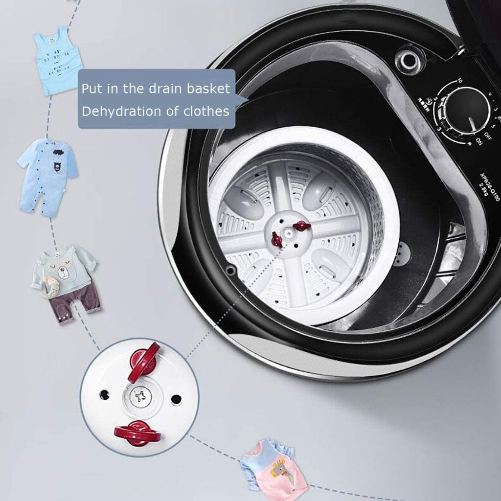 Protable Washer Mini Small Compact Washing Machine Baby Clothes Cleaning 2.8KG Washing Capacity for Outdoor Caravans Small Apartments Travel Student Dormitory