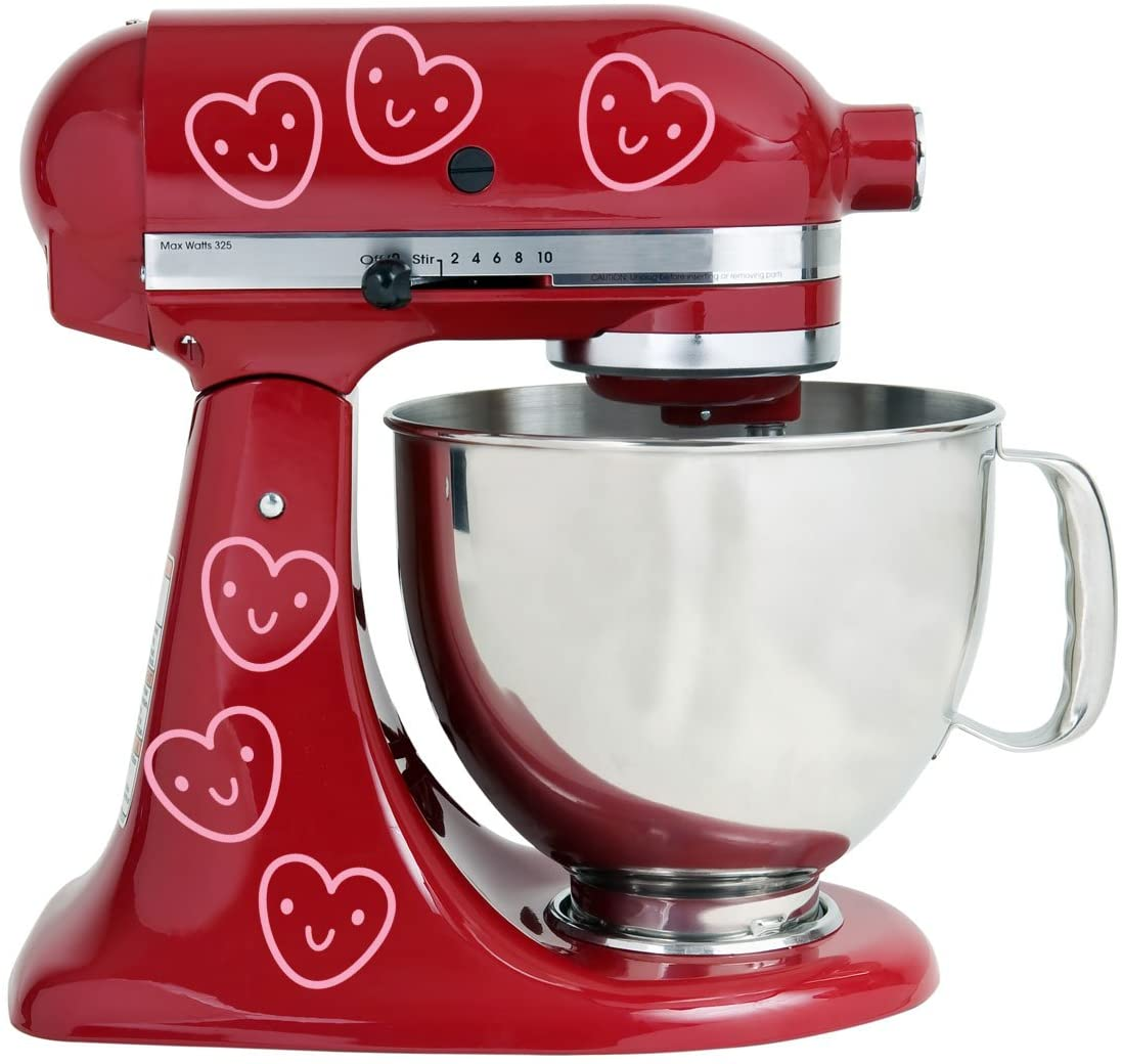 Grinning Happy Hearts Kitchen Mixer Mixing Machine Decal Art Wrap