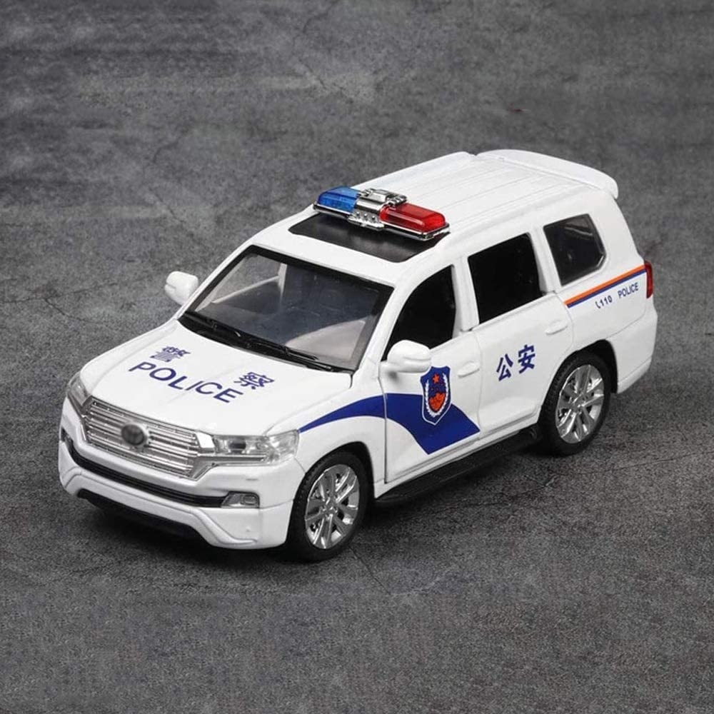 1/32 Alloy Toy Model Kits, 6 Door Police Car with Sound and Light Alloy Pull Back Vehicles Toy Car for Toddlers Kids Boys Girls Gift (Color : White)