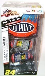 Jeff Gordon #24 Chevy Impala Iridescent Silver and Liquid Color Dupont 2 Car Set 1/64 Scale and 1/24 Scale Dupont Hood Winners Circle Limited Edition 5000 Sets Made Only 100 Per State