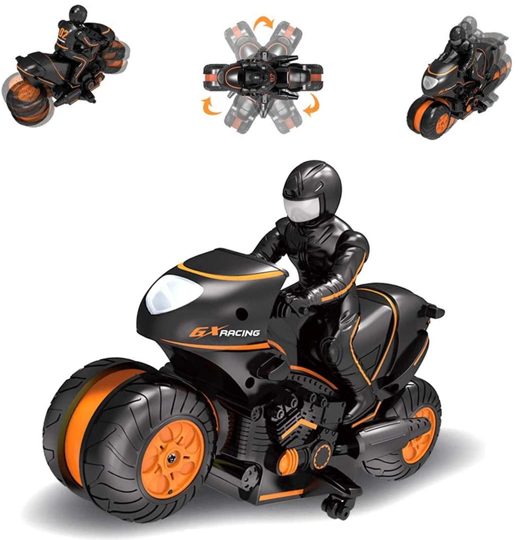 HMANE 2.4G RC Racing Motorcycle Remote Control High Speed Drift Motorcycle 360° Rotation Stunt Motorbike Model Toys for Kids Boys - Orange