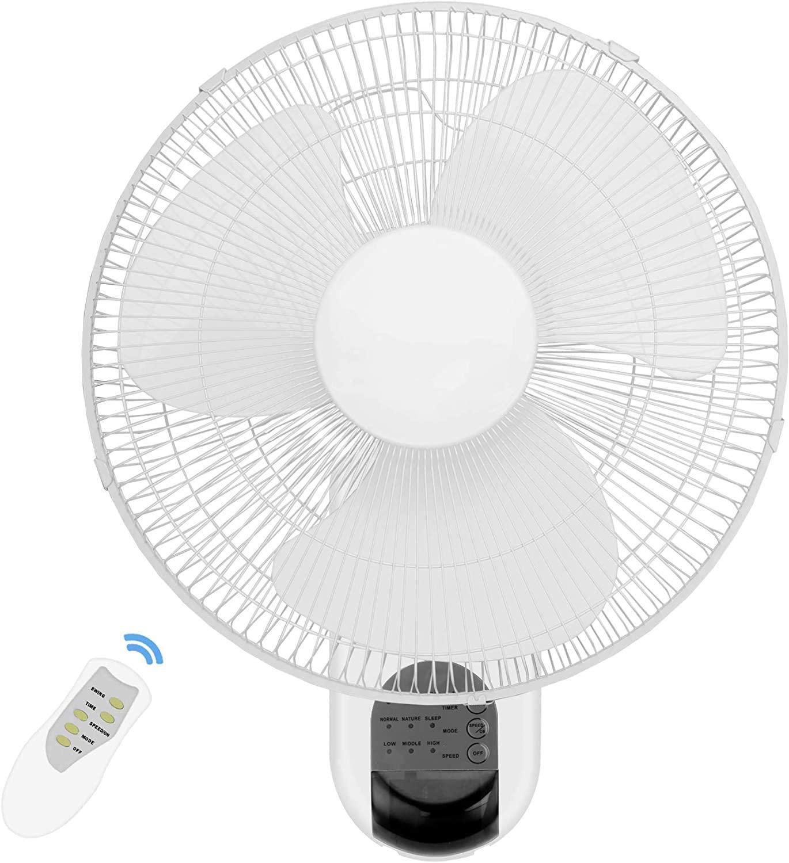 XKRSBS 16 Inch Adjustable Tilt, Digital Household Wall Mount Fans, 90 Degree, 3 Speed Settings, ETL Certified, 1 Pack, White