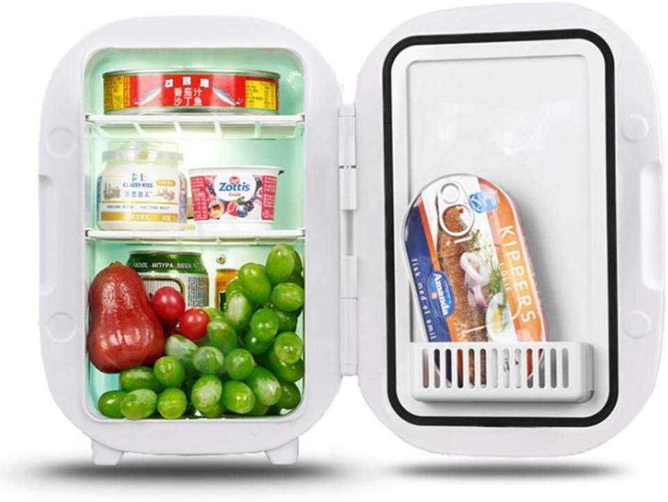 YAOLAN Mini Fridge 6 Liter with Cooling and Warming Function Include Removable Shelves, AC/DC for Car and Home Thermoelectric Compact Portable Refrigerator ECO Mode [Energy Class A++]
