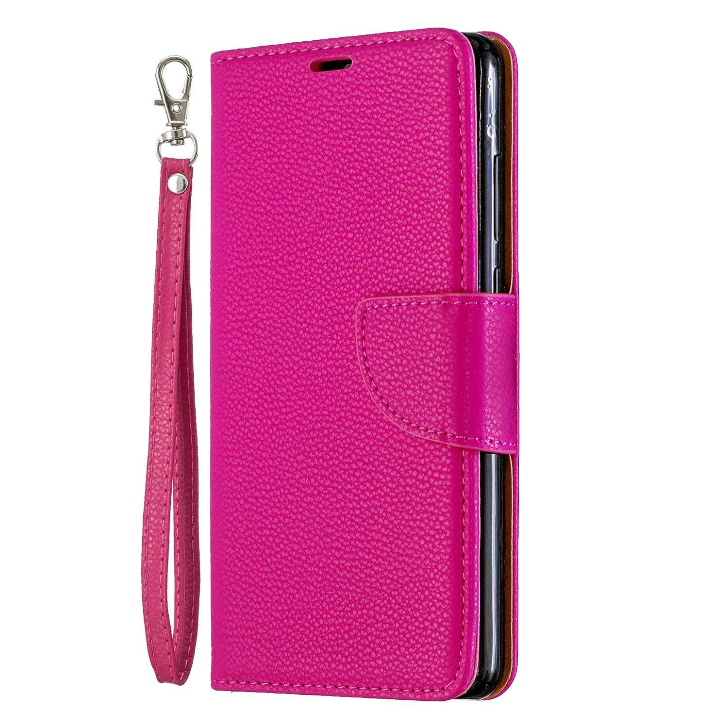 The Grafu Premium Case for Huawei P30, Scratch Resistant Flip Folio Case Cover with Card Slot and Magnetic Closure for Huawei P30, Rose Red