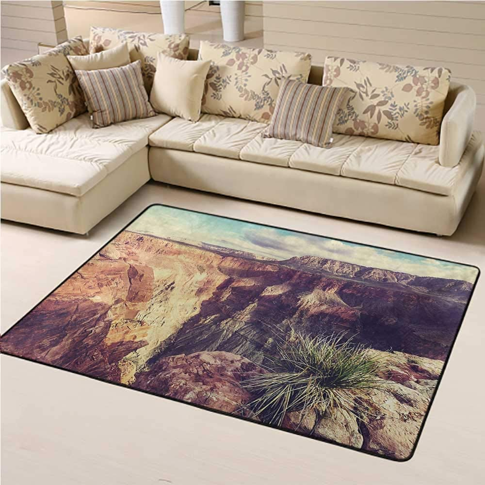 Living Room Carpet Canyon Kids Play Rug Exotic Photo of Canyon Rocks Formed Eroding Habita Feature of Geologic Movement 5 x 7 Ft Grey Brown