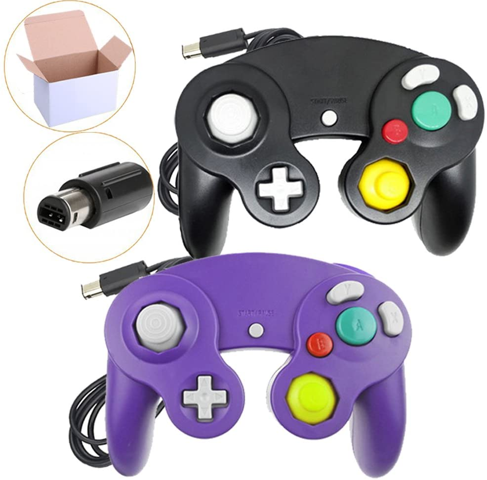 Poulep 2 Packs Classic Wired Gamepad Controllers for Wii Game Cube Gamecube Console (Black and Purple)