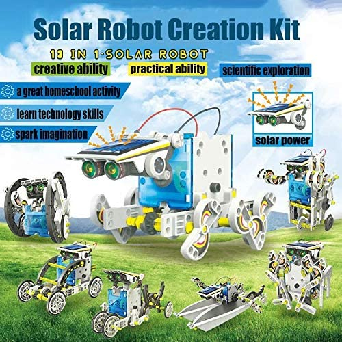 qiaoniuniu Science Kit for Kids STEM Toys Tinker 13-in-1 Solar Robot Building Experiments Projects Model Engine Games Aged 8-10 and Older