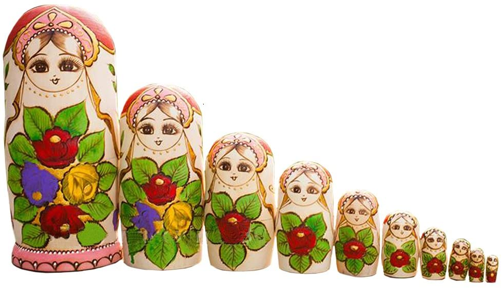 Ziyier Brand New Matryoshka Beautiful Nesting Wishing Traditional Russian Hand Carved & Hand Painted Doll Colorful Made up of Wood Perfect 10pcs