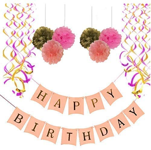 Happy Birthday Banner, with 6 Pom Pom Color Pink, Gold and Dark Pink, with 6 Hanging Swirls Gold and Pink, Birthday Decorations