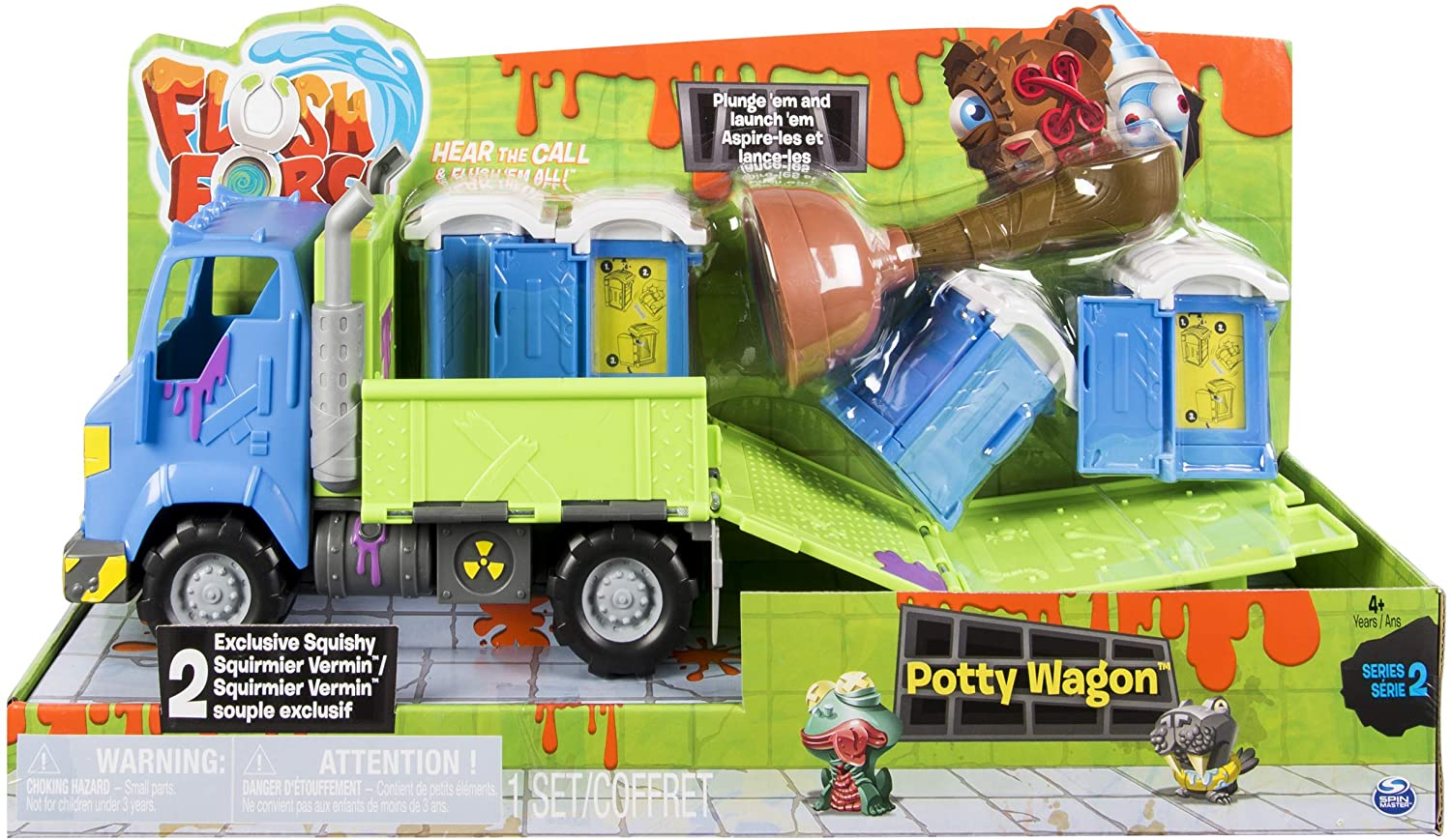 Flush Force – Series 2 Potty Wagon, with Gross Collectible Figures for Kids Ages 4 and Up (Colors/Styles May Vary)