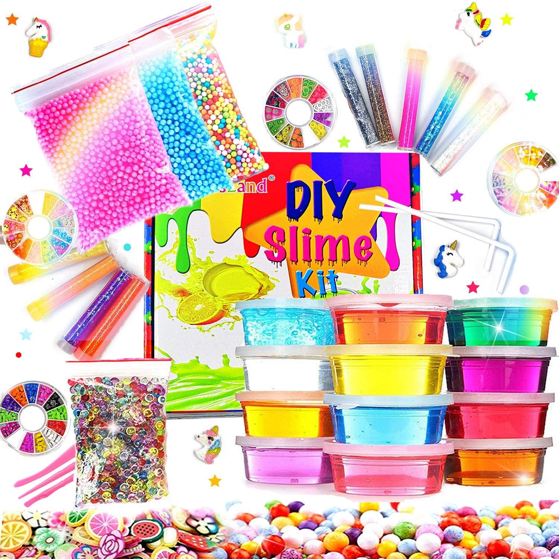 KiddosLand Slime Kit for Girls Boys - Best Crystal Slime Supplies Kit Birthday Gifts Idea Toys For Girls Boys Slime Making Kit for Kids Include 12 Crystal Slime,Luxurious Glitter Vials,Foam Beads,etc.