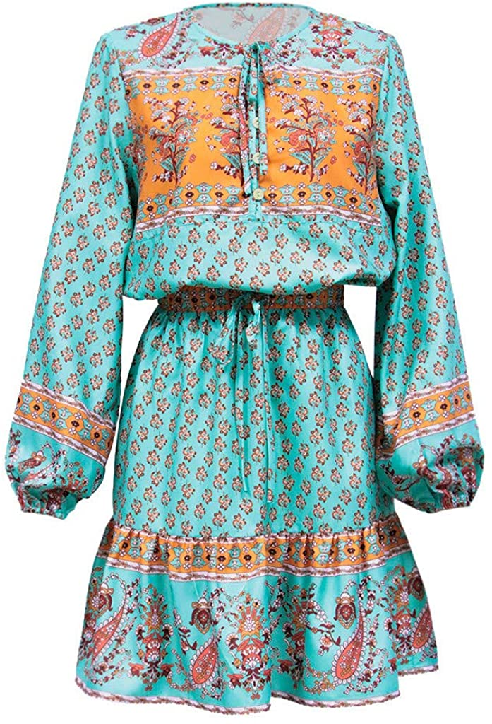 Womens Bohemia Floral Print 2 Pieces Outfits Bandage Buttons V Neck Long Sleeve Top Mini Dress
