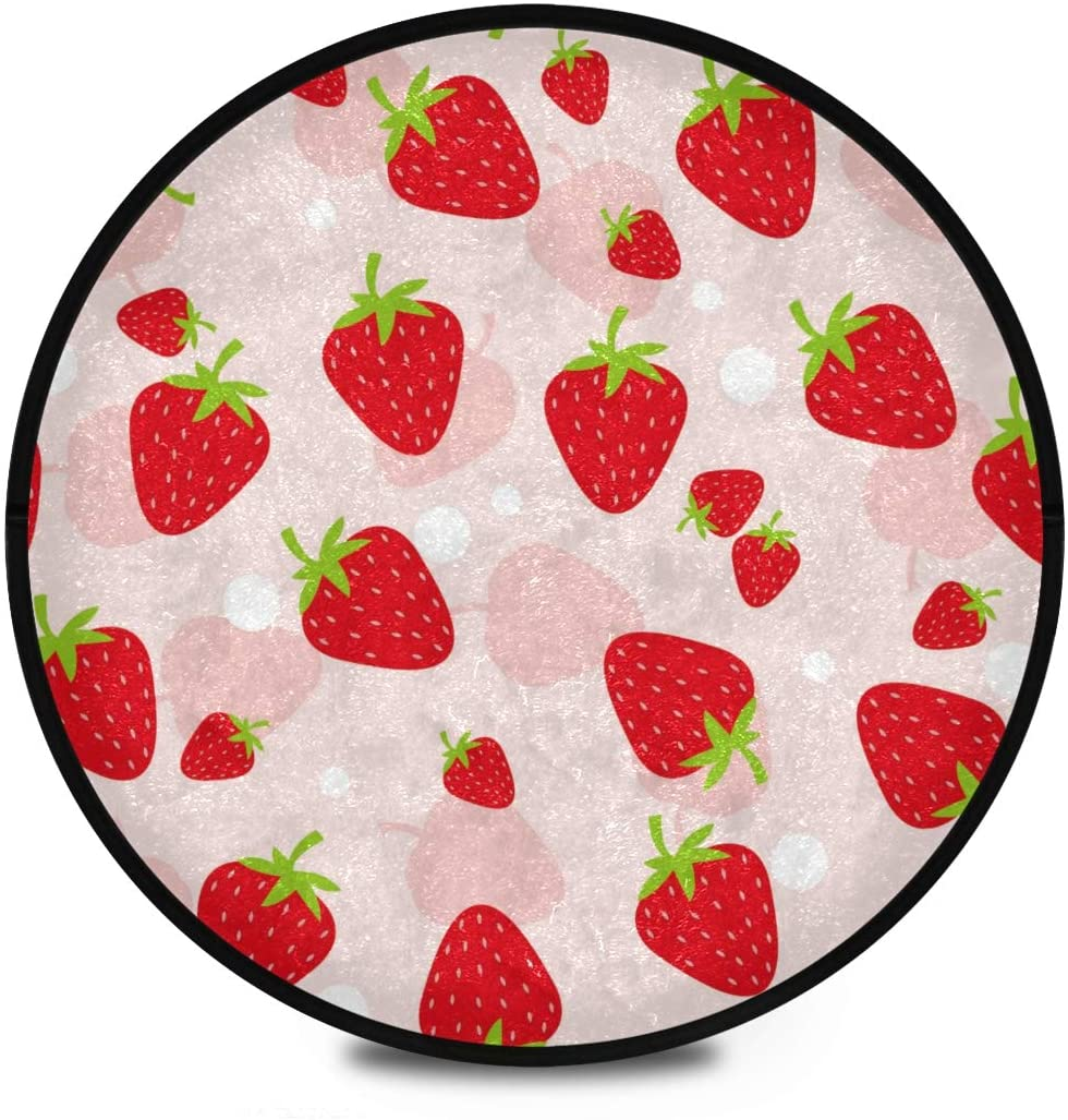 Shaggy Round Mat Fruits Strawberry Round Rug for Kids Living Room Anti-Slip Rug Room Carpets Play Mat