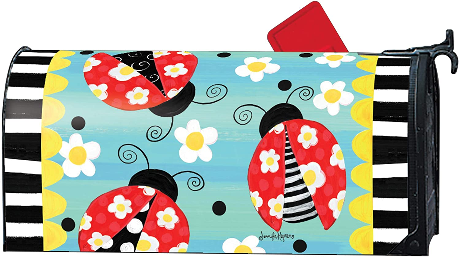MailWraps Studio M Folk Ladybugs Decorative, The Original Magnetic Mailbox Cover, Made in USA, Superior Weather Durability, Standard Size fits 6.5W x 19L Inch Mailbox