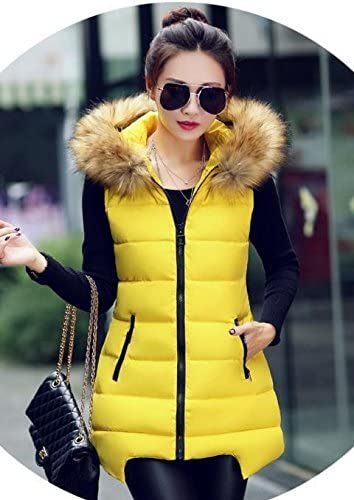 skilled prouducts Yellow Women's Vest Women's Autumn and Winter Fur Collar Slim Large Models in The Long Down Jacket Cotton Vest Wild Cardigan XL