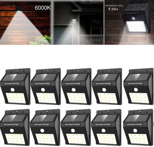 Motion Sensor Solar Lights Outdoor Wall Light 12 LED Waterproof Wireless Security Night Light Lamp for Outdoor Closet Light Porch Light Yard Garden Step Stair Garage Garden Deck Light, 10 Pack