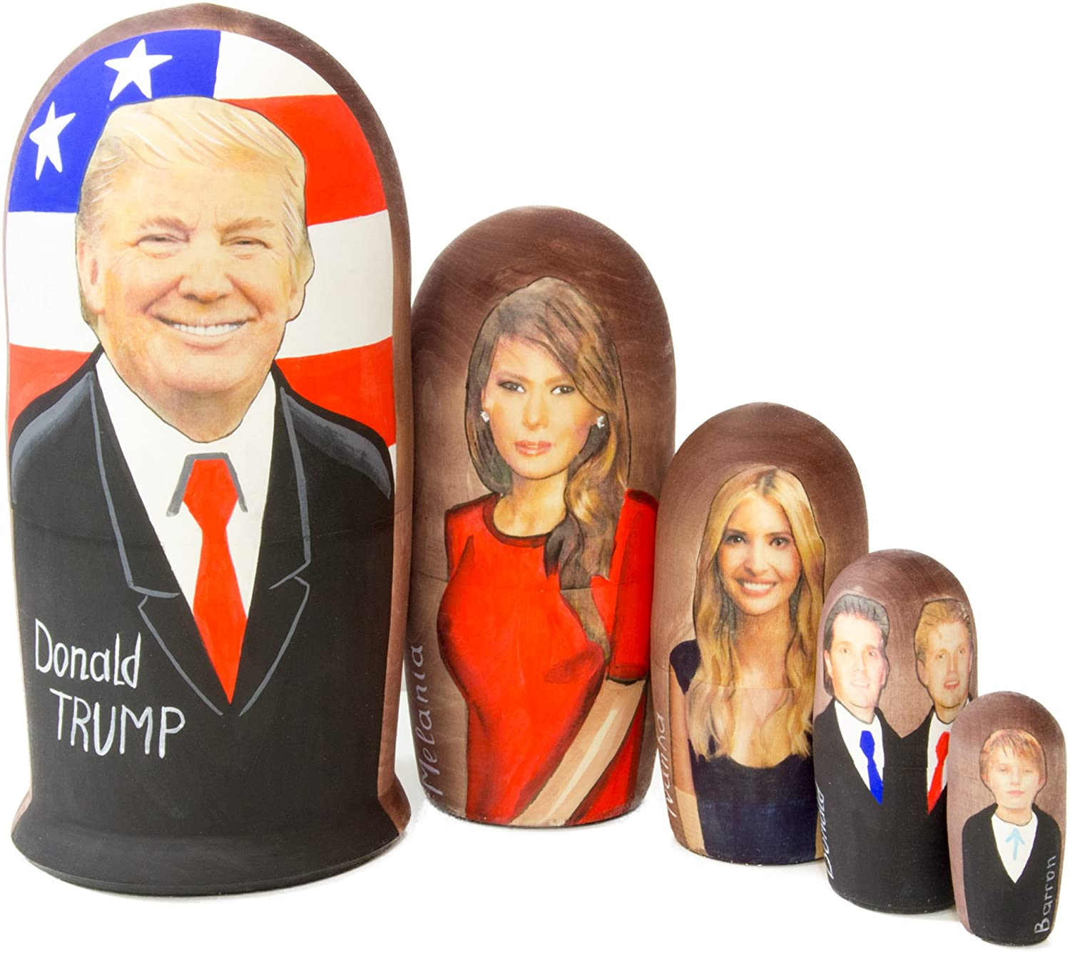 craftsfromrussia Nesting Doll - Trump and The First Family (6,75`` (5 Dolls in1), Matte)