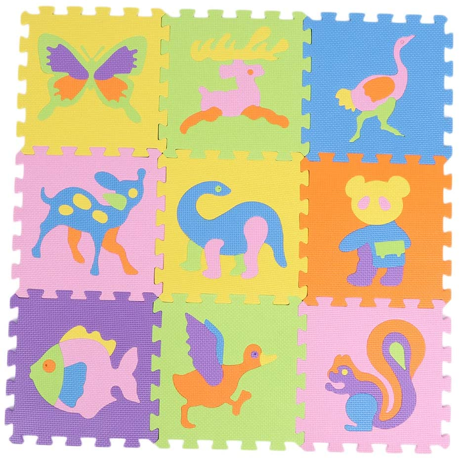 Ponacat 9Pcs Digital EVA Floor Game Pad Baby Room Bubble Puzzle Kids Puzzle Exercise Play Mat with EVA Foam Interlocking Tiles