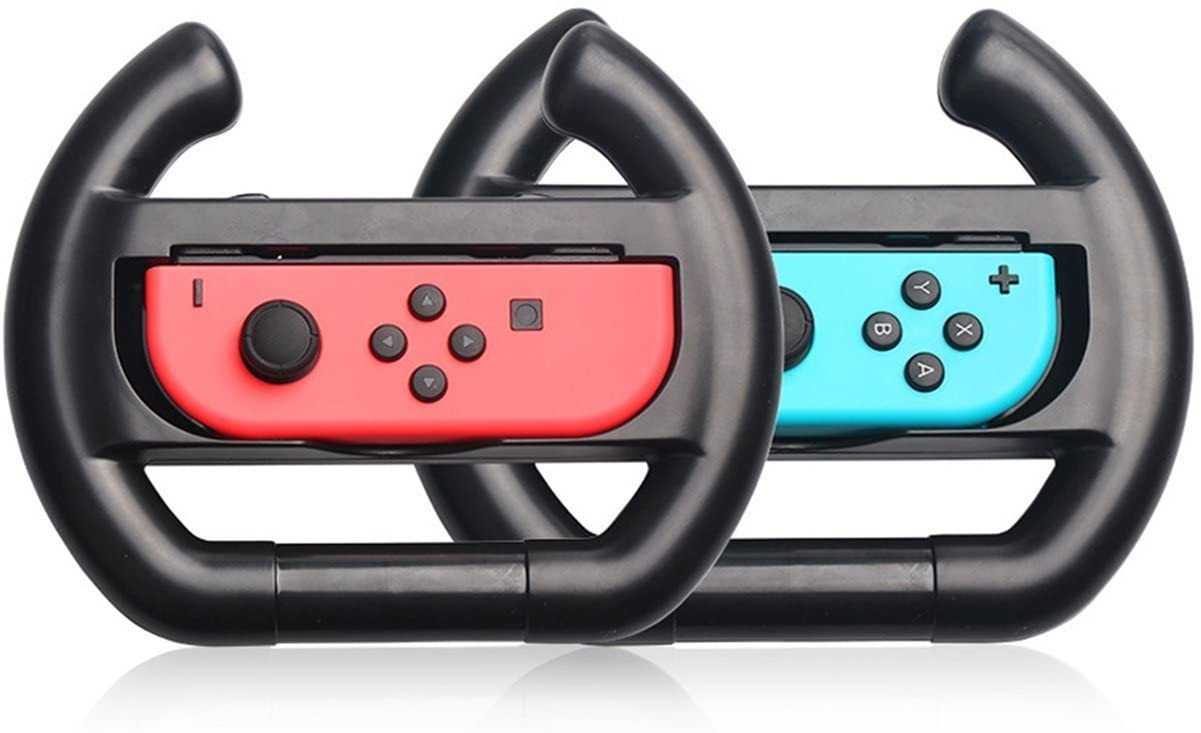 Switch Wheel, Proslife Switch Steering Wheel for Joy Con Controller, 2 Pack, Black/Black(Controllers not Included)
