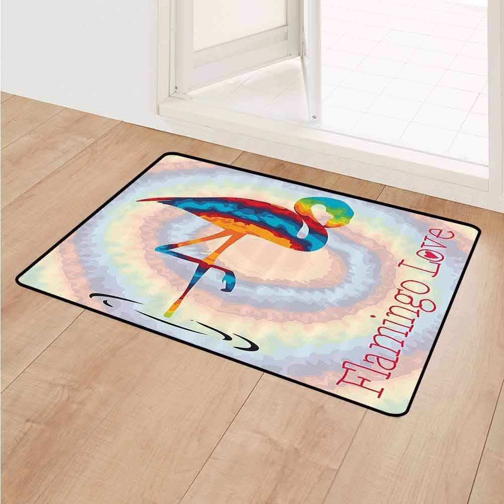 Flamingo Floor Rug Mats Single Flamingo Rainbow Colors Tie Dye Style Background Animal World Artwork Print Carpet Kids Room Rugs 20