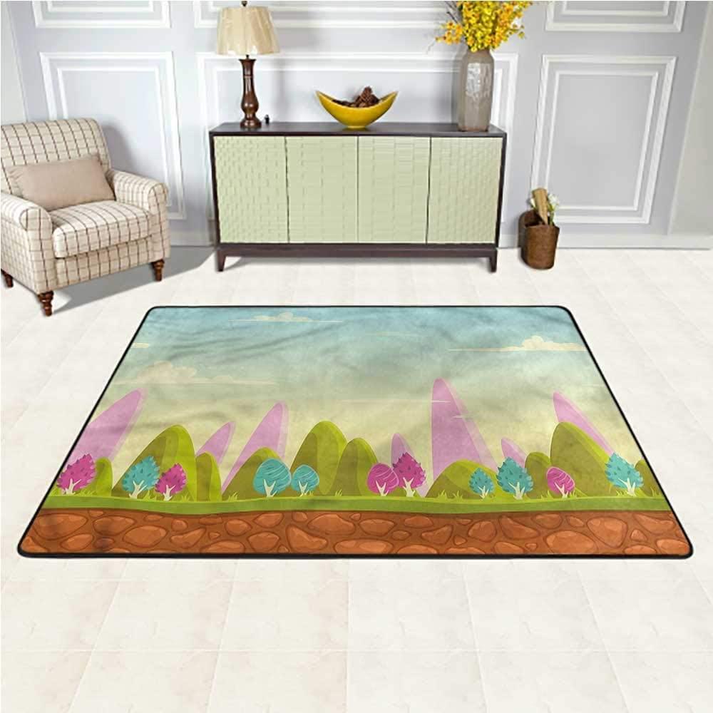 Rugs Forest, Fantasy Cartoon for Kids Non Skid Rugs for Bedroom Living Room Girls Kids 4 x 4 Feet