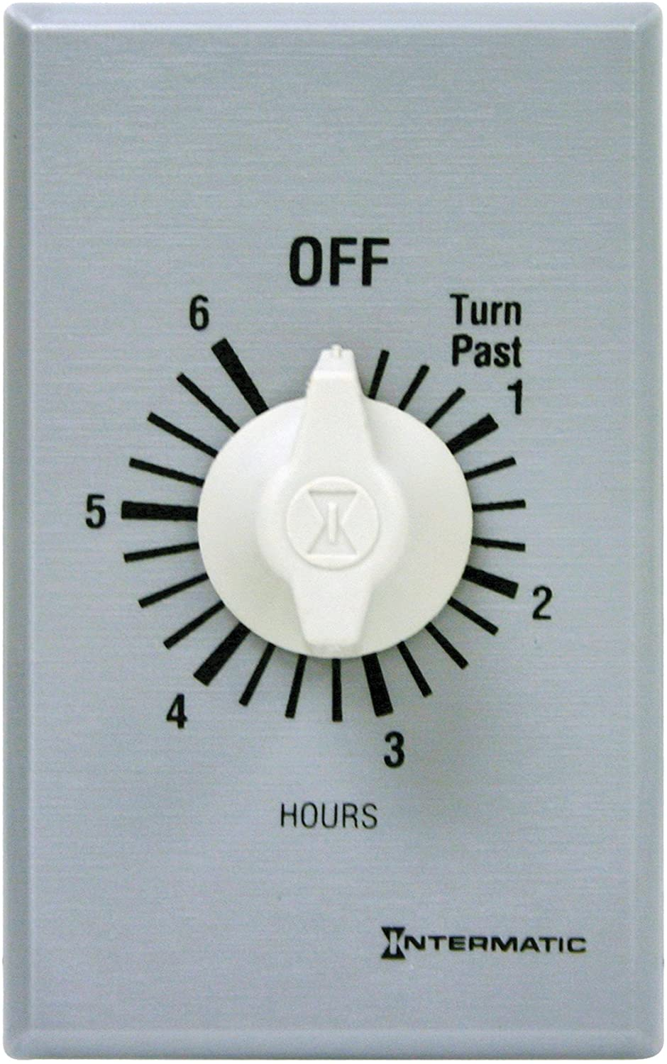 Intermatic FF46H 6-Hour Spring Loaded Wall Timer, Brushed Metal Finish
