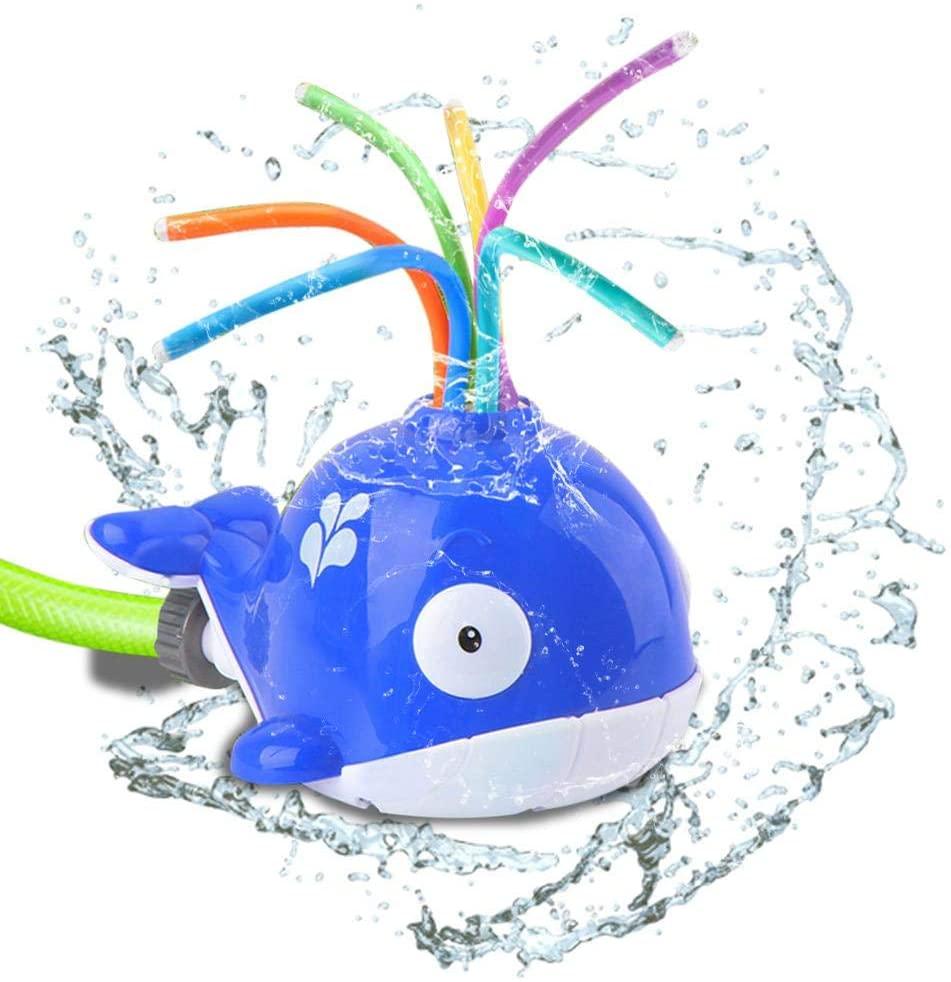 Politice Whale Garden Water Sprinkler Toy Hydro Swirl Spinning Splash Toy for Kids Toddlers Summer Game Attaches to Garden Hose