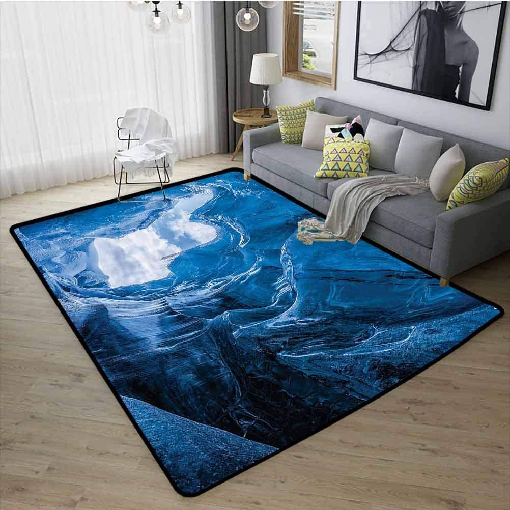 Natural Cave Decor Modern Rugs, Safety and Environmental Protection Durable Non Skid Rug for Kids Nursery Glacier Frozen Chilled Den in Iceland Natural Odd Forms Nordic Scandinavian Image, W31 x L47