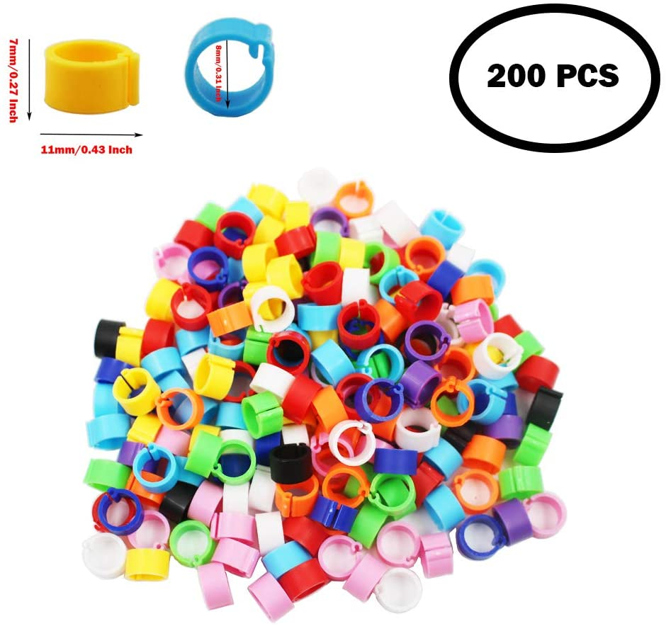 N / A 200 Pcs Multicolor Pigeon Leg Rings Poultry Clip on Foot Bands for Bird Quail Chicks Pullets Tiny Bantams Hatch Mark