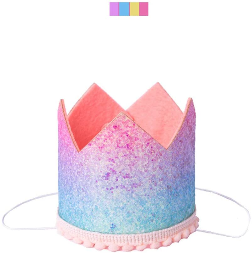 AKDSteel Baby Rainbow Gradient Glitter Particle Crown Cap Birthday Party Decoration Birthday Hat 1# for Toys Gift