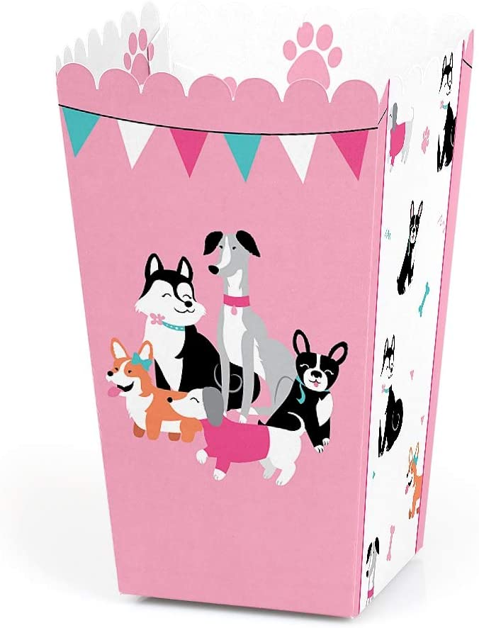 Pawty Like a Puppy Girl - Pink Dog Baby Shower or Birthday Party Favor Popcorn Treat Boxes - Set of 12