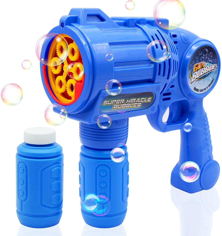 Ultimate Bubble Gun Bubble Blaster – Blue Crefun SB9312 Light Up Bubble Blower Safe Durable Simple Handheld Bubble Machine Bubble Toys for Kids Party Favor Birthday Wedding Including 2 Bubble Solution
