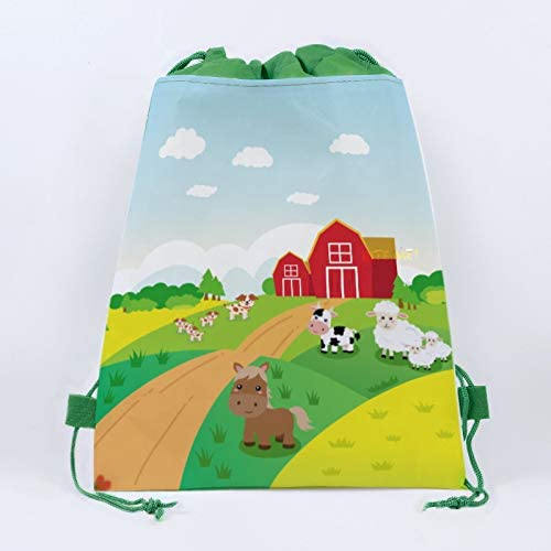 CC HOME 16 Pack of Farm Drawstring Party Bags,Farm Gift Candy Treat Bagsfor Kids Girls Boys,Birthday Party