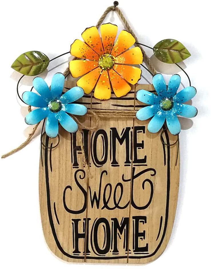 UWIOFF Home Sweet Home Sign Rustic Wood Wall Hanging Plaque Sign Flower Summer Welcome Sign for Front Door Decorative Hanging Sign Home Porch Decoration