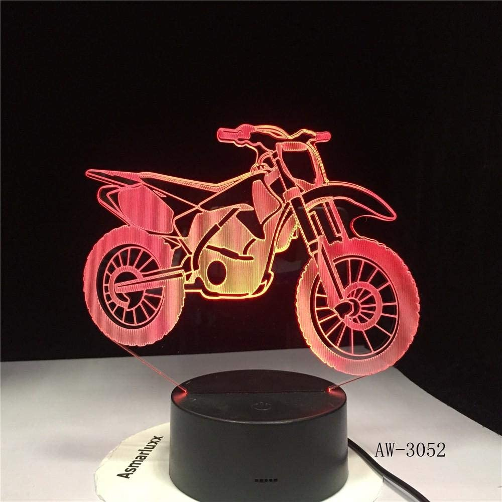 TYWFIOAV Night Light for Kids Birthday 3D Illusion Lamp Kid Toys Optical Gifts for Boys Men Home Decor Office Bedroom Party Web Nursery Lightingmotorcycle