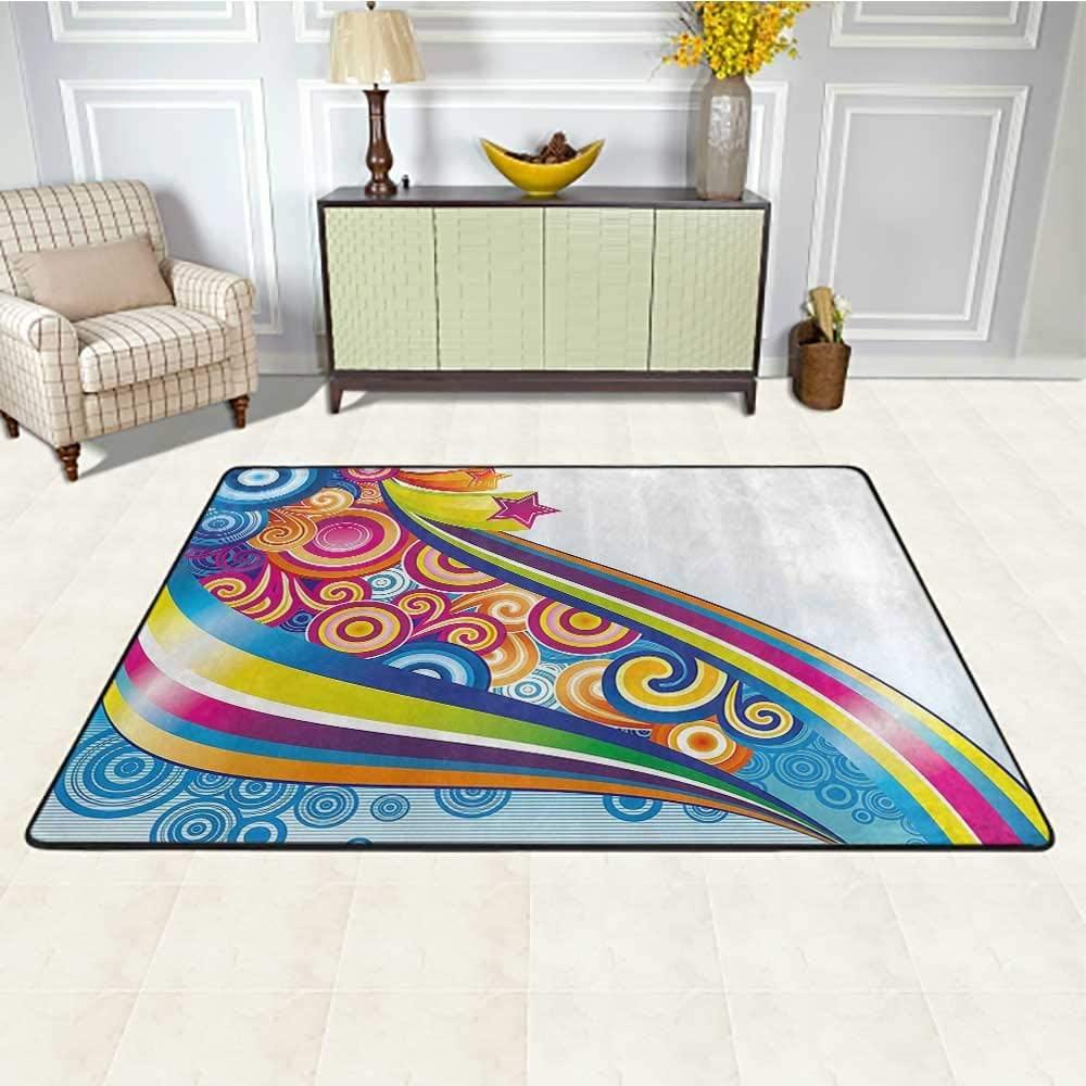 Modern Decor Carpets for Living Room 5' x 7', 80s Cartoon Rainbow Like Image with Stars Orients Waves Geometric Artwork Kids Play Rug, Multicolor