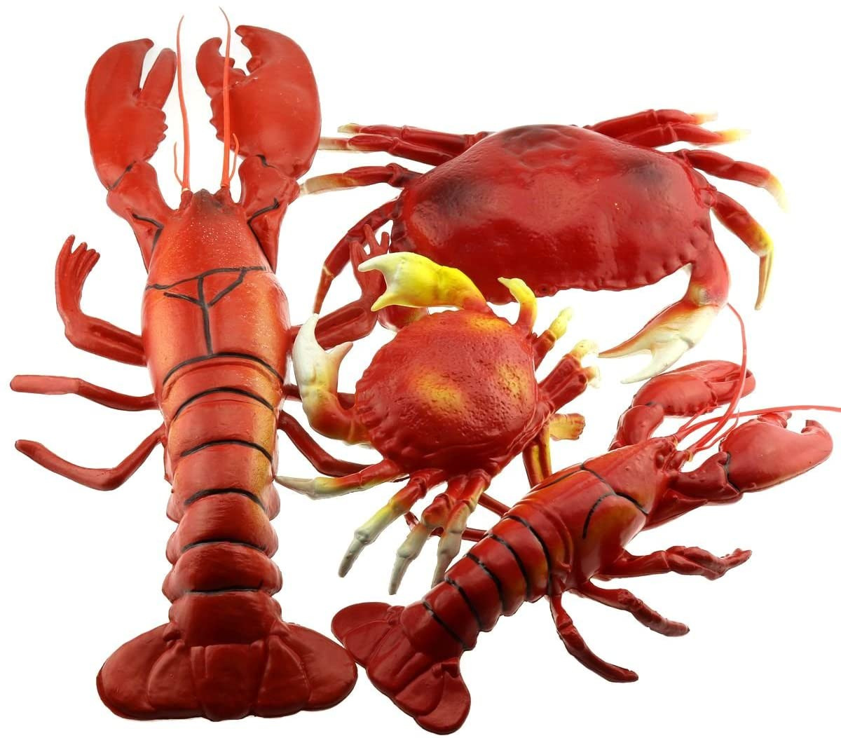 Gresorth 4 Pack Fake Large Sea Life Creatures Collection of Artificial Lobster & Crab Home Party Decoration Display Kids Play Toy