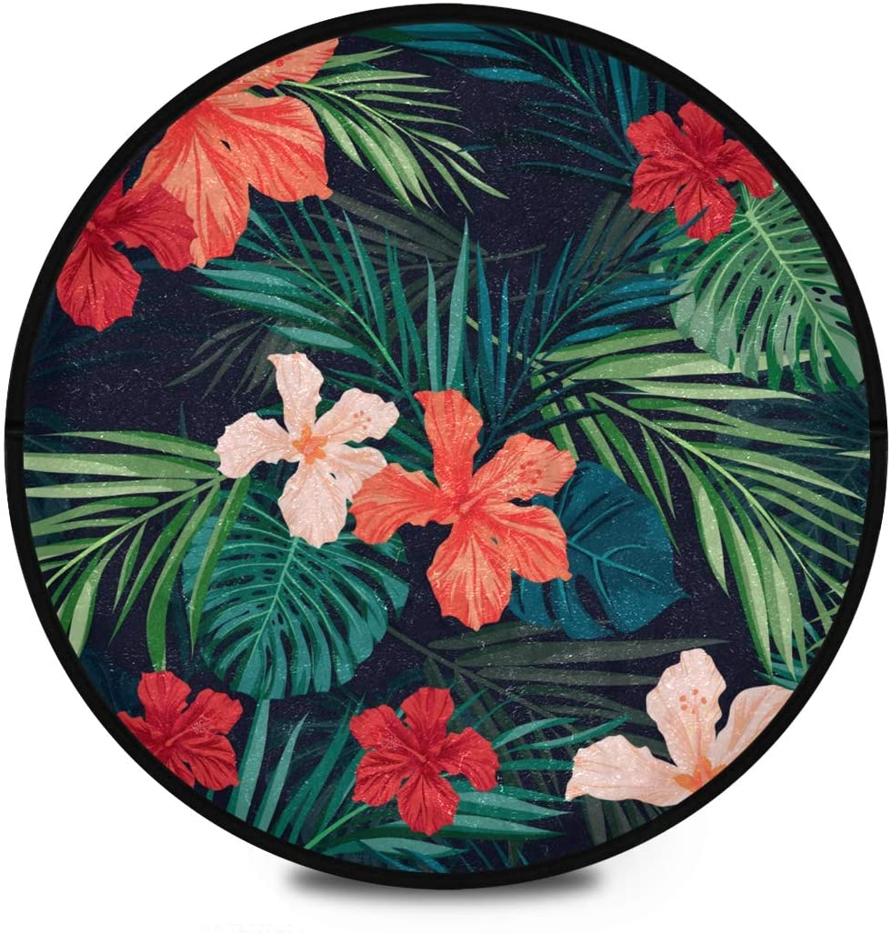 Shaggy Round Mat Leaves Flowers Round Rug for Kids Bedroom Anti-Slip Rug Room Carpets Play Mat