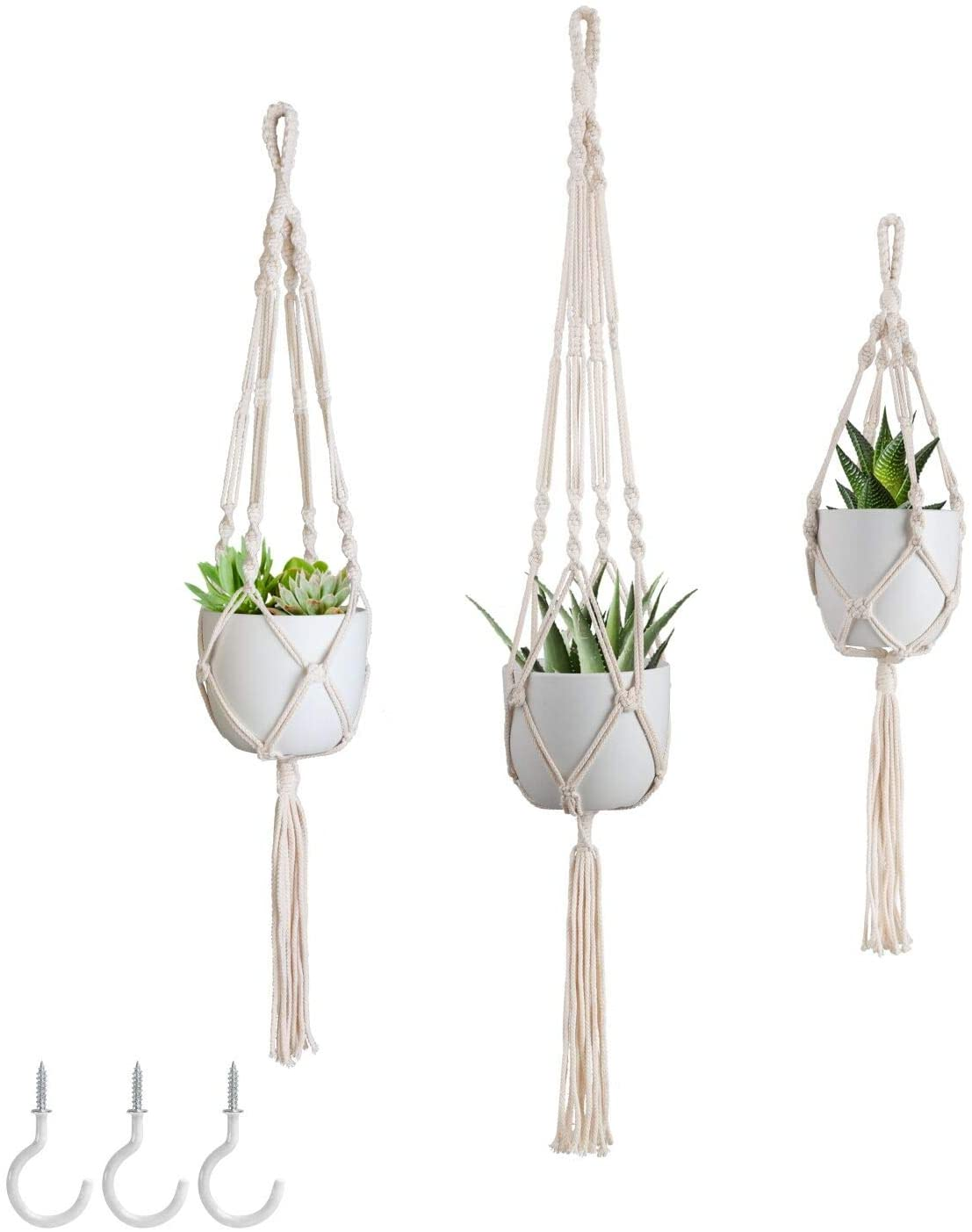 Mokof Macrame Plant Hangers for Indoor Plants with Hooks, 3 Different Sizes