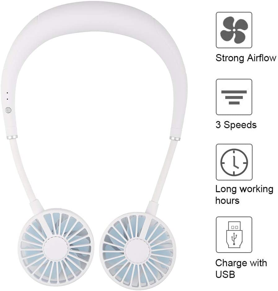 Portable Hanging Neck Fan, Hands Free Mini USB Rechargeable Personal Wearable Fan with 3 Level Air Flow for Office Outdoor Travel