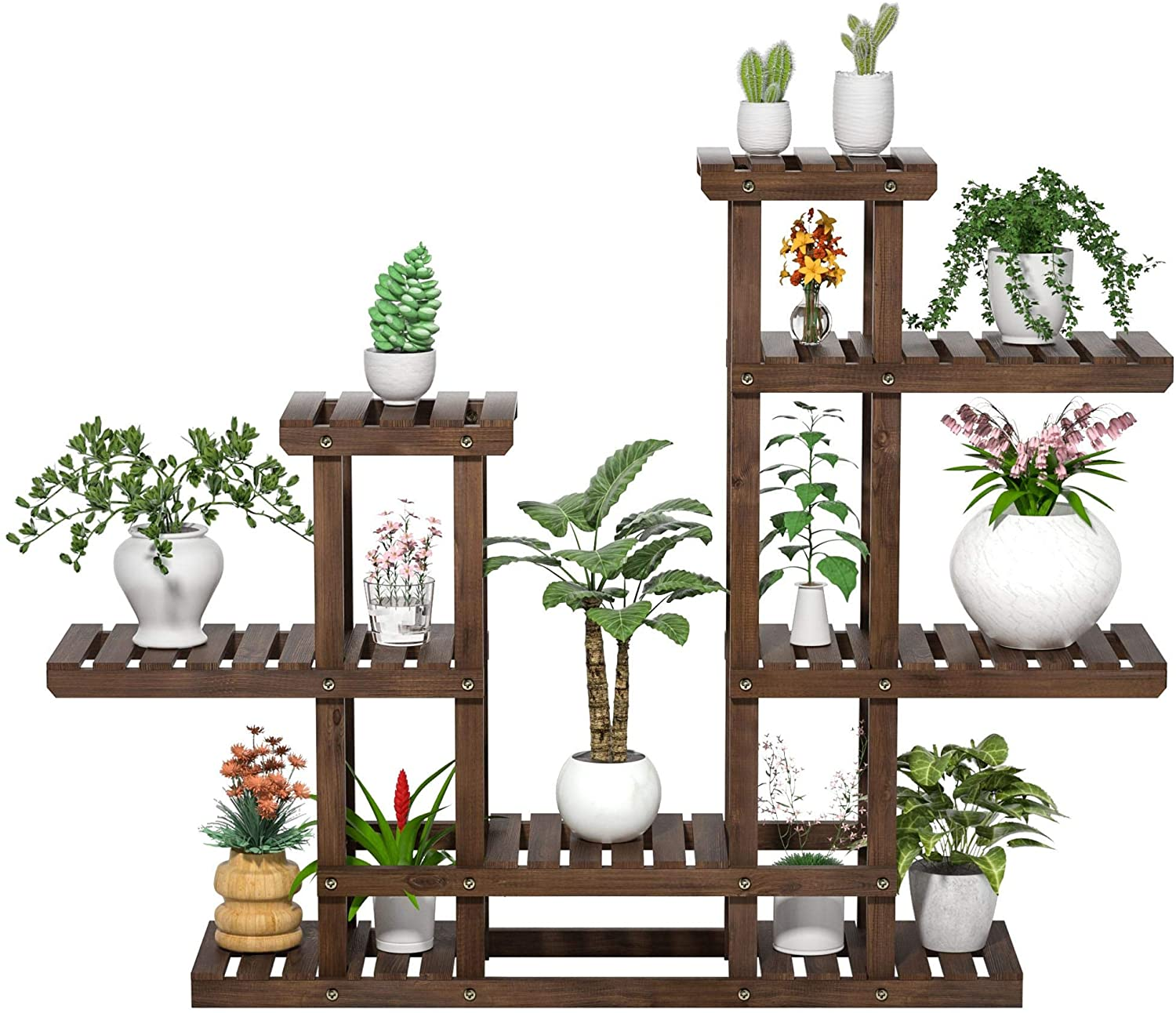 YAHEETECH 6 Tier Plant Stand Rack Shelf-Planter Holder Flower Pots Shelving Unit Indoor/Outdoor for Multiple Plants Display Multi-Role Multicapa Vegetal Solid Wood Brown 47.5 x 10 x 38in