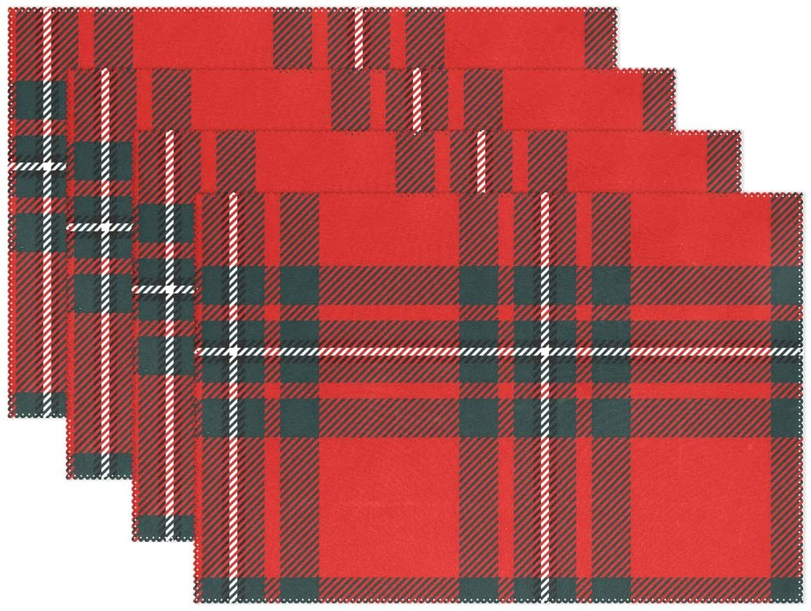 Dining Mat Scottish Black Red Plaid Tartan Pattern Table Mat Washable Heat Resistant Polyester Print Place mats for Kitchen Dining Table 12x18