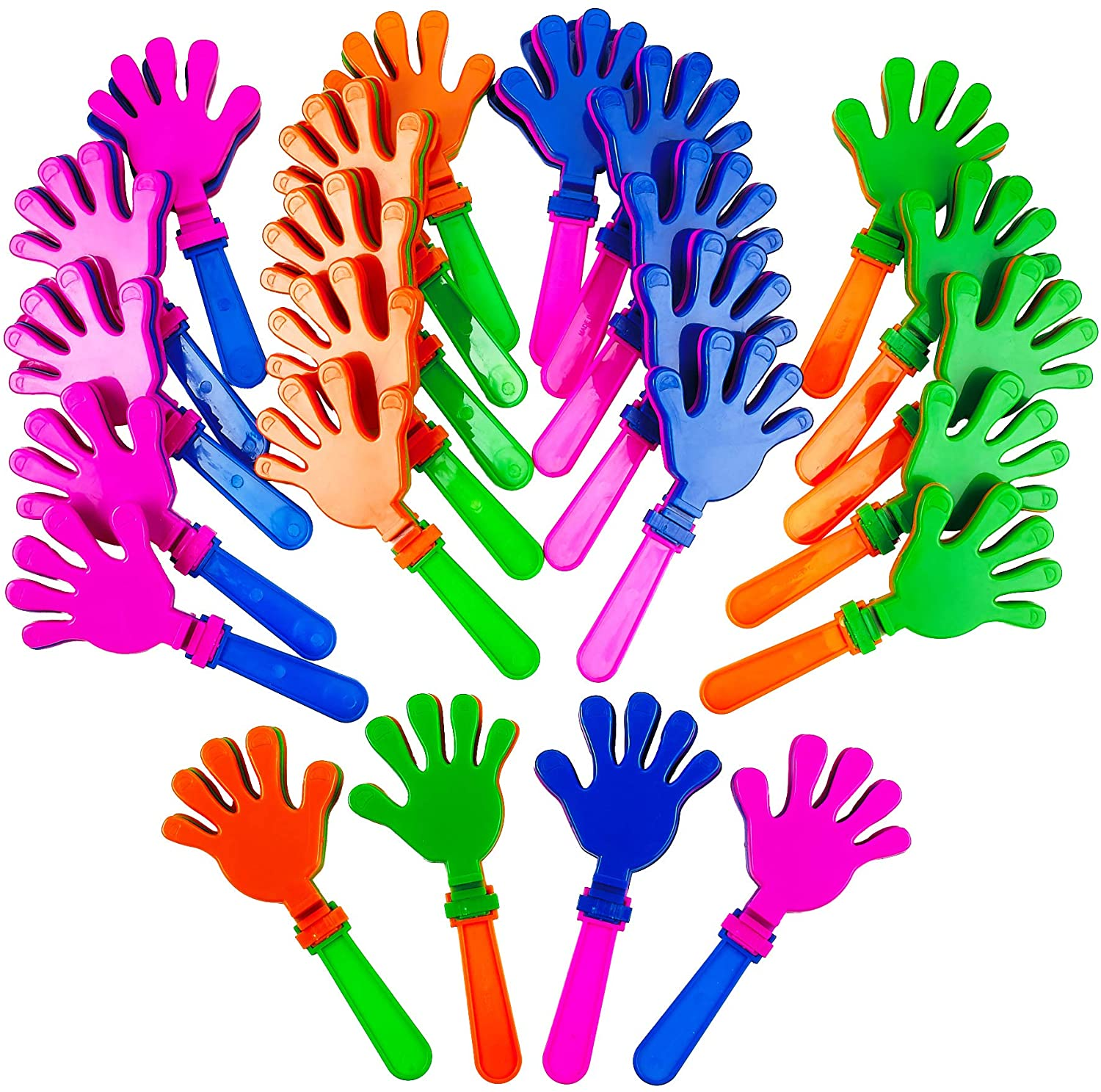 Kicko Plastic Hand Clappers - 24 Pack - 7.5 Inch - for Kids, Party Favors, Stocking Stuffers, Classroom Prizes, Decorations, Birthday Supplies, Holidays, Pinata Filler, Novelties and Rewards