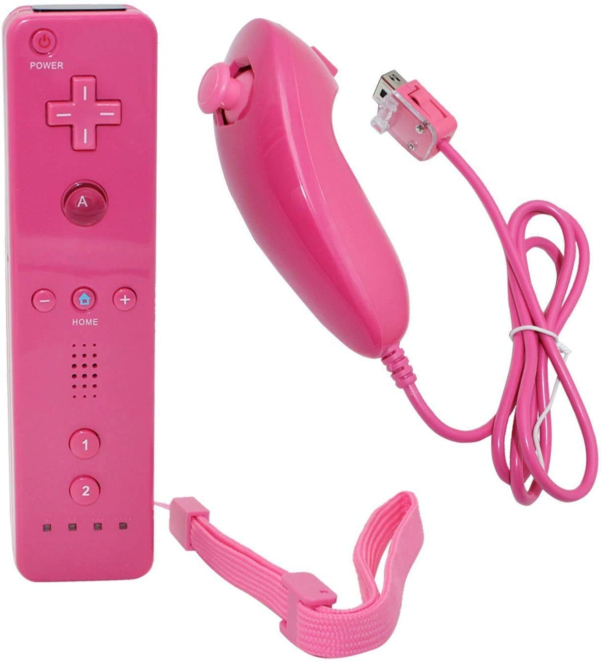Remote Controller for Wii Nintendo, Wii Remote Controller with Built in Motion Plus and Nunchuk, Pink, 1 Pack, Compatible for Nintendo Wii, Wii U