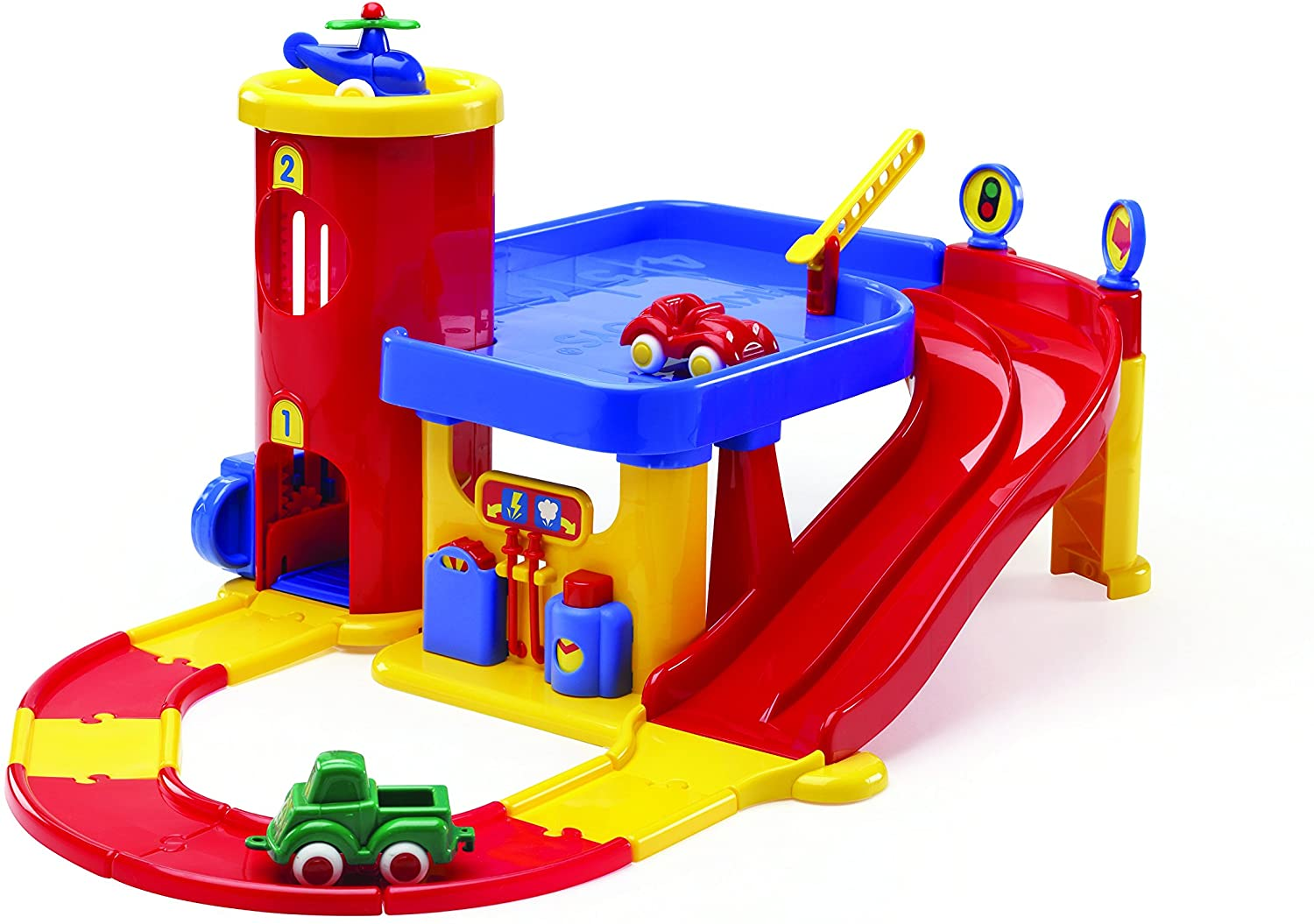 Viking City Two-Story Garage with Helipad, Elevator and Three 2 3/4 Vehicles - Ages 12 Months and Up