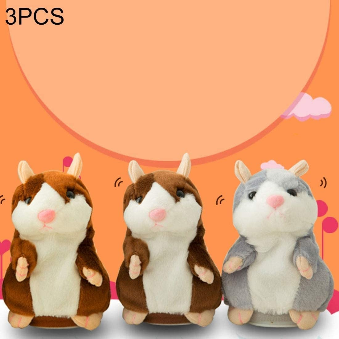 Intelligence Toys Great 3 PCS Educational Toys Cartoon Hamster Cute Become Sound Recording Voles Children Birthday Gift, Random Color Delivery, Size: 1588cm