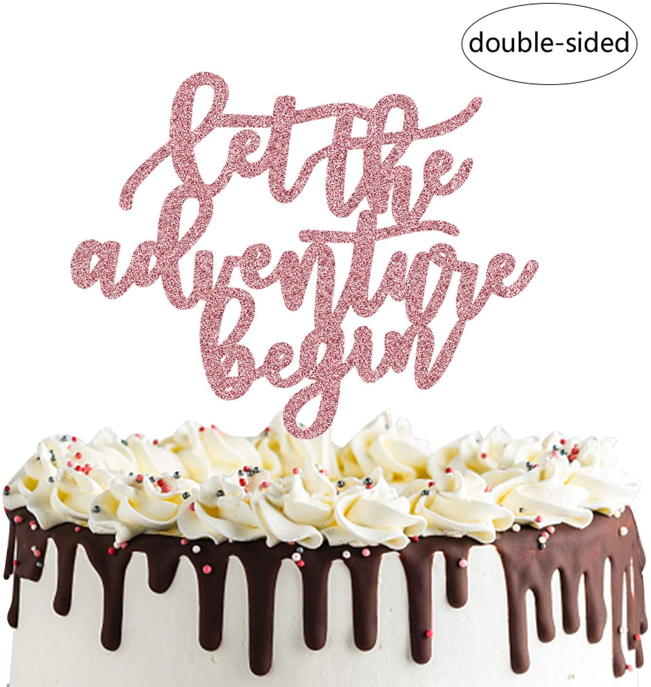 Let the Adventure Begin Cake Topper for Going Away Travel Themed Graduation Party Decorations
