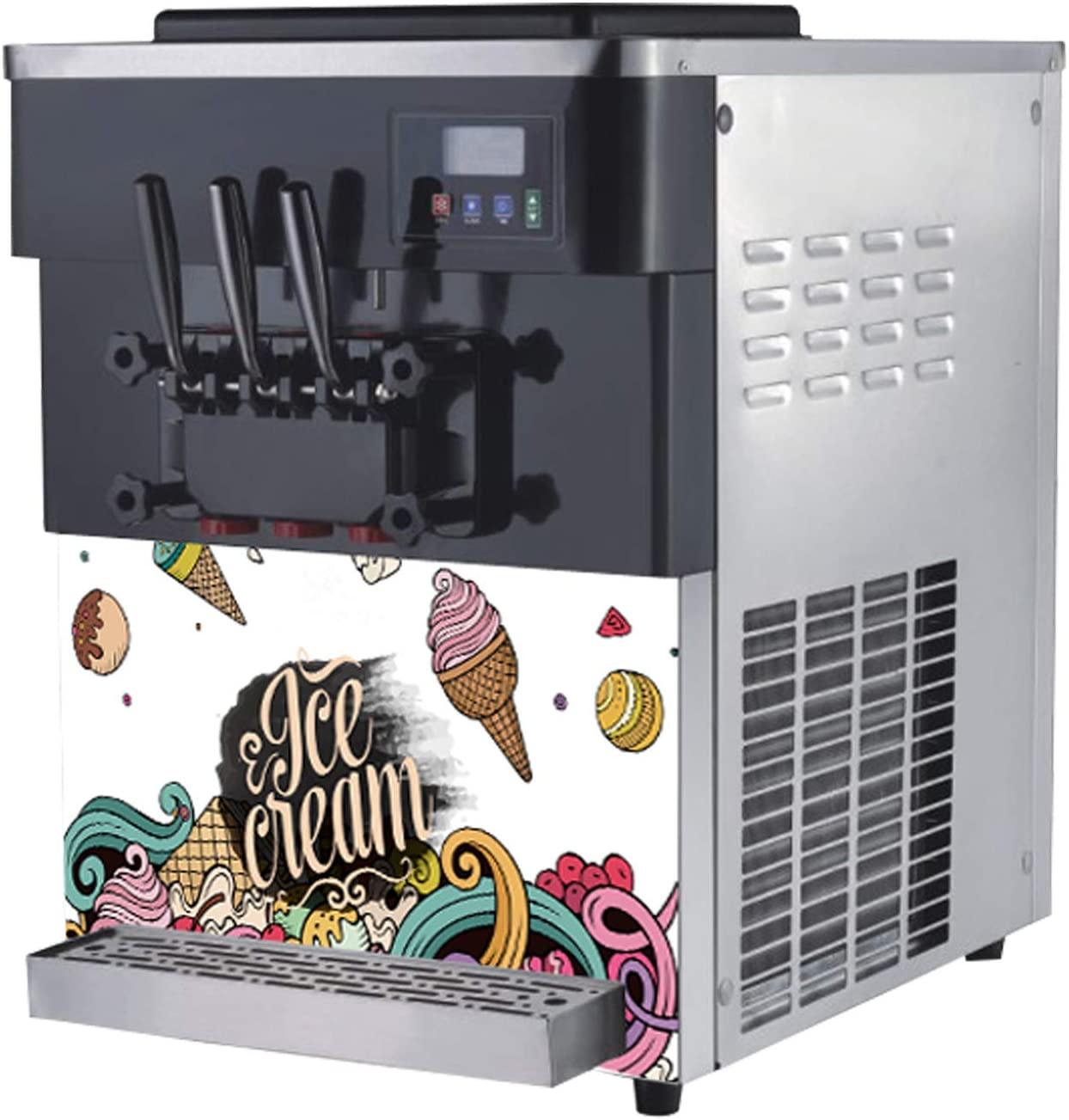 Ice Cream Maker Machine for Soft Serve, Frozen Yogurt, Sorbet, Gelato, Custard – LCD Screen & 3 Flavors (2 Individual & 1 Mix) – For Restaurants, Snack Bars, Cafes, Bakeries - 50-Quart Output HALF PRICE AMAZON ONLY SALE